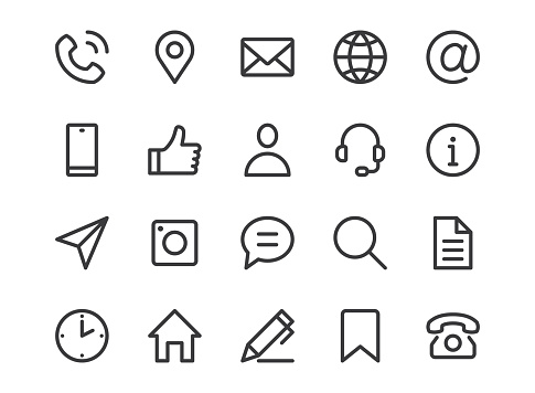 Contact us line icon. Minimal vector illustration with simple outline icons as phone, email, web site, address, location, review, feedback and other business pictogram. Editable Stroke. Pixel Perfect