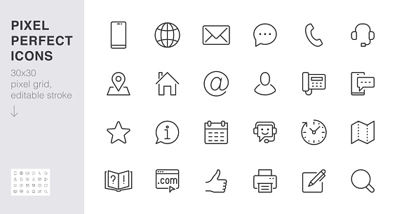 Contact us line icon set. Feedback, customer service, phone, email address, web site minimal vector illustration. Simple outline sign business card, landing page. 30x30 Pixel Perfect Editable Stroke