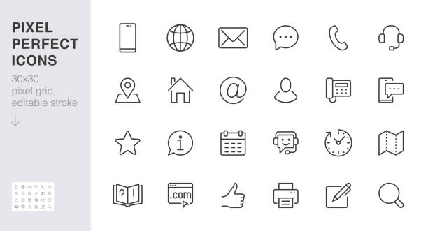 Contact us line icon set. Feedback, customer service, phone, email address, web site minimal vector illustration. Simple outline sign business card, landing page. 30x30 Pixel Perfect Editable Stroke Contact us line icon set. Feedback, customer service, phone, email address, web site minimal vector illustration. Simple outline sign business card, landing page. 30x30 Pixel Perfect Editable Stroke. communication icons stock illustrations