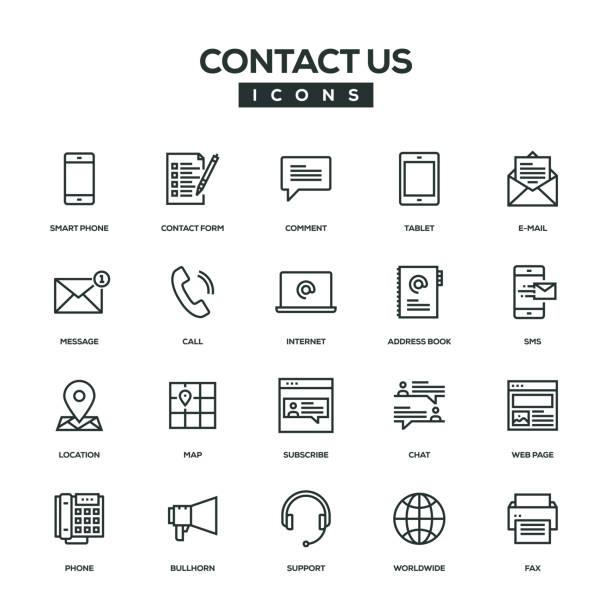 行アイコン セットお問い合わせ - メール点のイラスト素材/クリップアート素材/マンガ素材/アイコン素材
