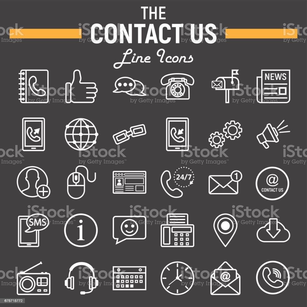 Contact Us Line Icon Set Web Button Symbols Collection Mobile And