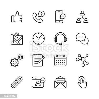 16 Contact Us Outline Icons.