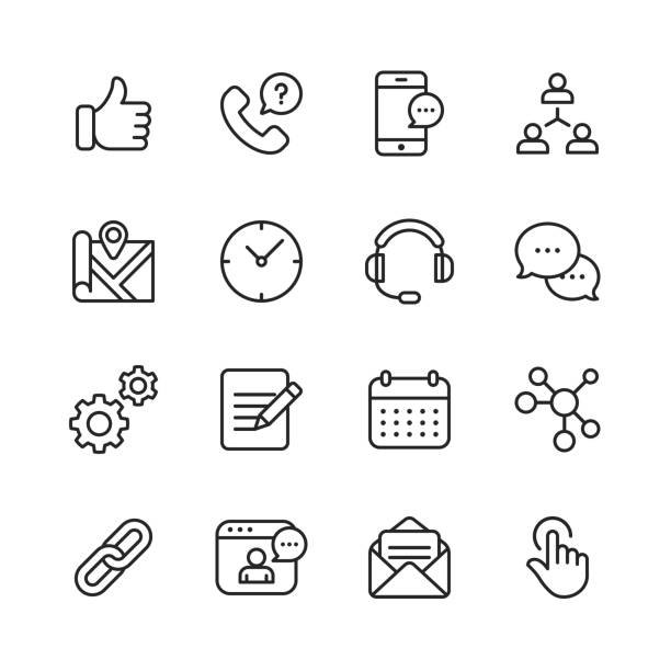ilustrações de stock, clip art, desenhos animados e ícones de contact us line icons. editable stroke. pixel perfect. for mobile and web. contains such icons as like button, location, calendar, messaging, network. - video call