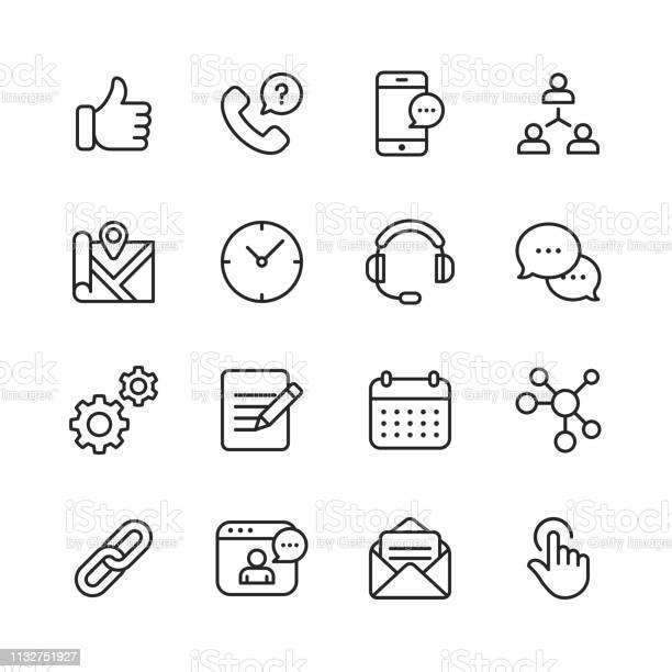 Contact Us Line Icons Editable Stroke Pixel Perfect For Mobile And Web Contains Such Icons As Like Button Location Calendar Messaging Network - Arte vetorial de stock e mais imagens de A usar um telefone