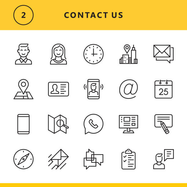 Contact us line icons Vector thin line icons set. One icon consists of a single object. Files included: Vector EPS 10, HD JPEG 4000 x 4000 px email signs stock illustrations