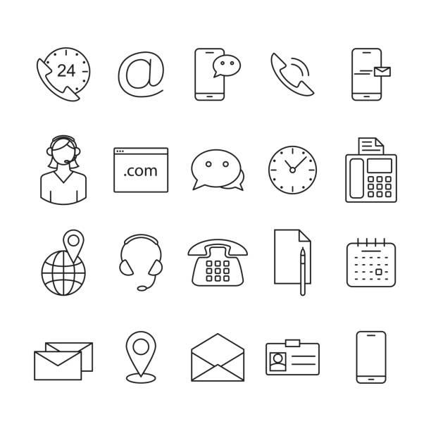 Kontaktieren Sie uns Linie Symbole. – Vektorgrafik