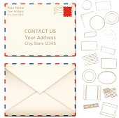 Letters and cancellation stamps with space for your copy. EPS 10 file. Transparency effects used on highlight elements.