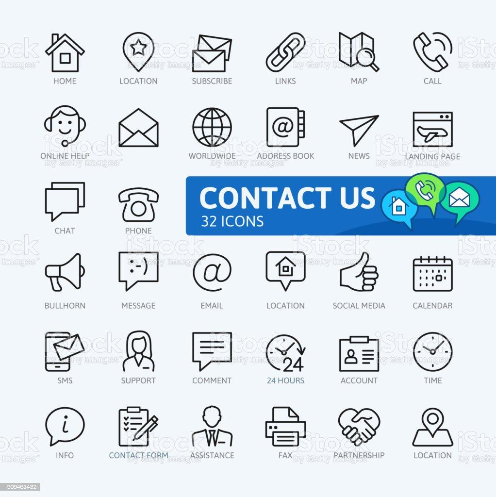 Contáctenos - colección de iconos del esquema - ilustración de arte vectorial