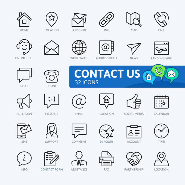 contact us -  outline icons collection - thin line icons stock illustrations, clip art, cartoons, & icons