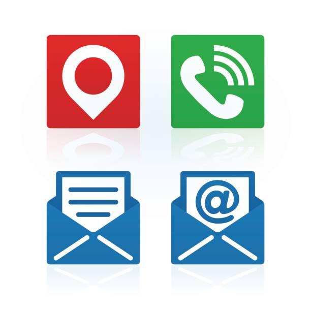 Symboles «Contactez-nous» sur fond blanc. Icônes vectorielles. - Illustration vectorielle