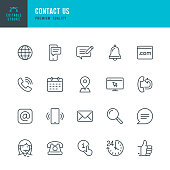 Contact Us - thin line vector icon set. Editable stroke. Pixel Perfect. 20 line icon. Set contains such icons as Support, Globe, Location, Feedback, Message, Telephone, Calendar, Mail, Site, Notification.