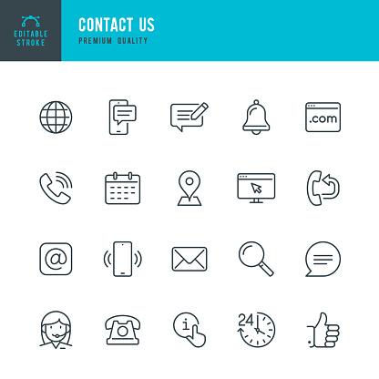 Contact Us Thin Line Vector Icon Set Editable Stroke Pixel Perfect Set Contains Such Icons As Globe Location Feedback Message Support Telephone Mail - Stockowe grafiki wektorowe i więcej obrazów 24 Hrs - Angielski zwrot