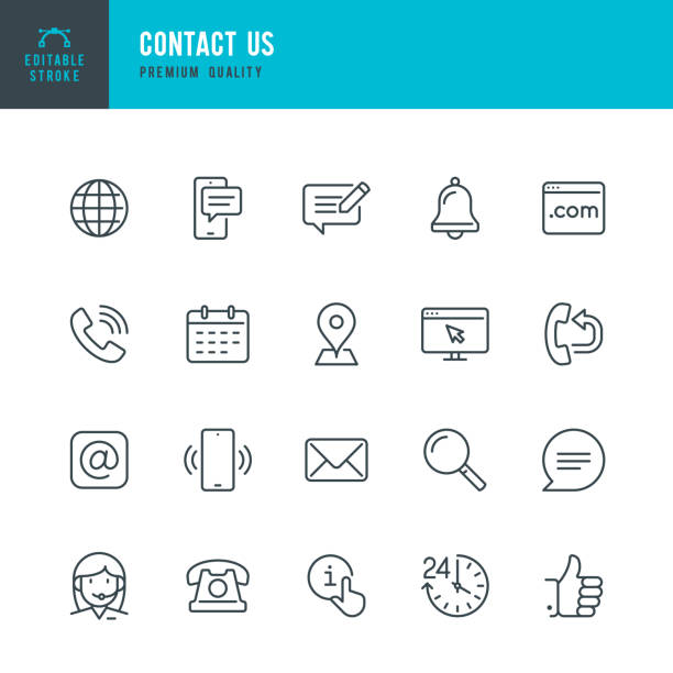 Contact Us - thin line vector icon set. Editable stroke. Pixel Perfect. Set contains such icons as Globe, Location, Feedback, Message, Support, Telephone, Mail. Contact Us - thin line vector icon set. Editable stroke. Pixel Perfect. 20 line icon. Set contains such icons as Support, Globe, Location, Feedback, Message, Telephone, Calendar, Mail, Site, Notification. communication stock illustrations