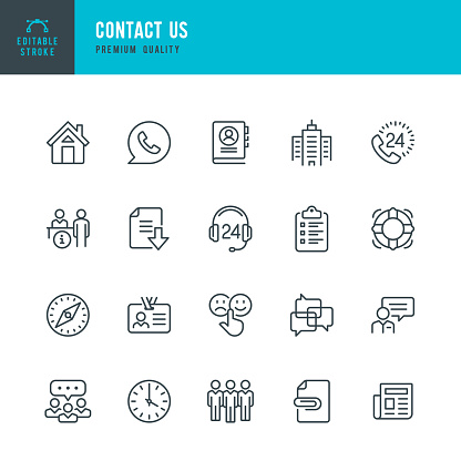 Contact Us - thin line vector icon set. Editable stroke. Pixel Perfect. Set contains such icons as Home, Help Desk, Feedback, Office, Support, Team, Life Belt.