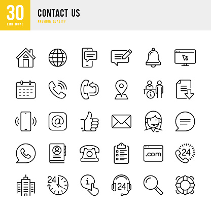 Contact Us - thin line vector icon set. Pixel Perfect. Set contains such icons as Home, Location, Feedback, Message, Support, Office, Mail.