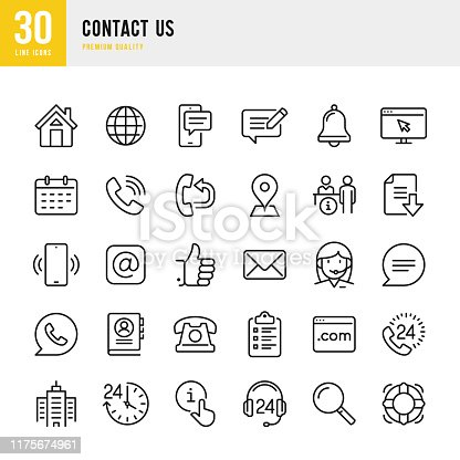 Contact Us - thin line vector icon set. Pixel Perfect. 30 line icon. Set contains such icons as Home, Location, Feedback, Message, Support, Office, Mail, Site, Notification.