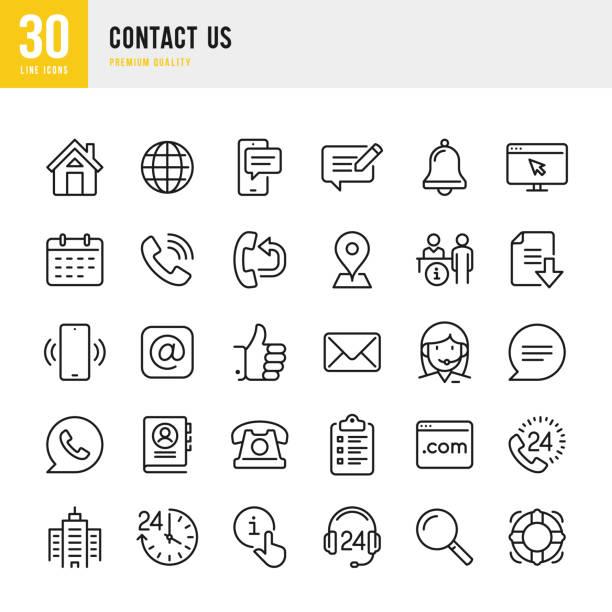 ilustraciones, imágenes clip art, dibujos animados e iconos de stock de contáctenos - conjunto de iconos vectoriales de línea delgada. píxel perfecto. conjunto contiene iconos como inicio, ubicación, comentarios, mensaje, soporte, office, correo. - física