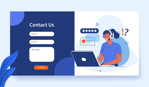 contact us Contact Us Form Template for Web and Landing Page. Female Customer Service Agent with Headsets Talking with Client. Online Customer Support and Helpdesk Concept. Flat Cartoon Vector Illustration. call centre illustrations stock illustrations