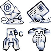 Email, mail, text and telephone symbols