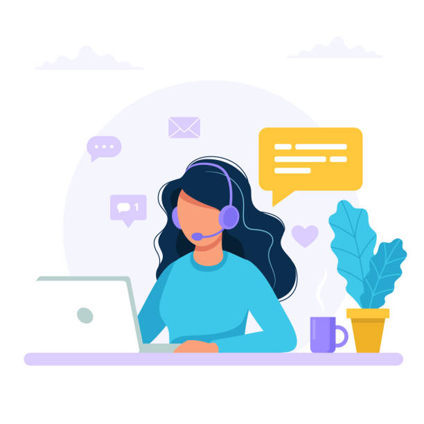contact us. woman with headphones and microphone with computer. concept illustration for support, assistance, call center. vector illustration in flat style - call center stock illustrations