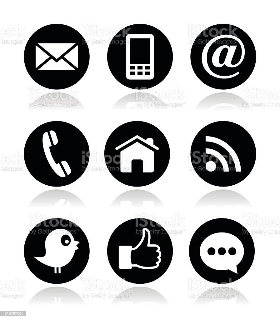 Contacto, sitios Web, blogs y redes sociales iconos redondo - ilustración de arte vectorial