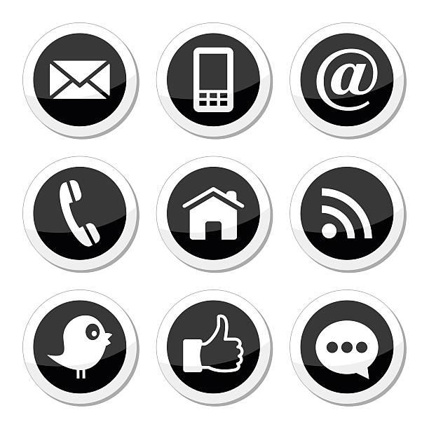 contact, web, blog social media round icons - twitter, facebook - twitter 幅插畫檔、美工圖案、卡通及圖標