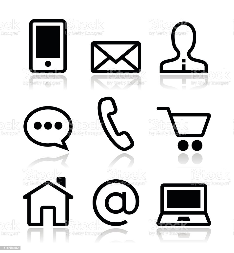 Contact web vector icons set vector art illustration