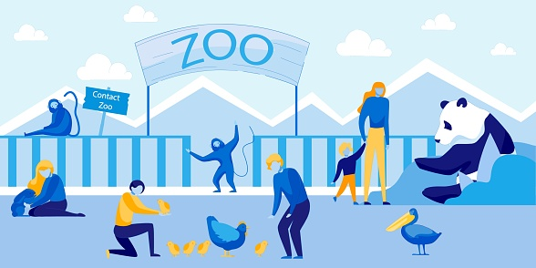 Contact Zoo with Cute Animals and Happy Visitors