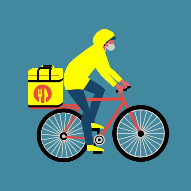 ilustrações de stock, clip art, desenhos animados e ícones de contact-free delivery service during quarantine - covid restaurant
