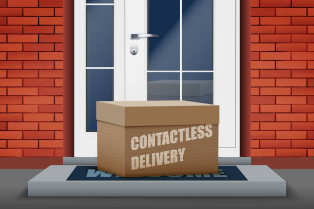 Contactless delivery box on doorstep Contactless delivery left at the door during the quarantine. House entrance with delivered box. Control Epidemic Prevention measures of coronavirus. Vector Illustration front stoop stock illustrations