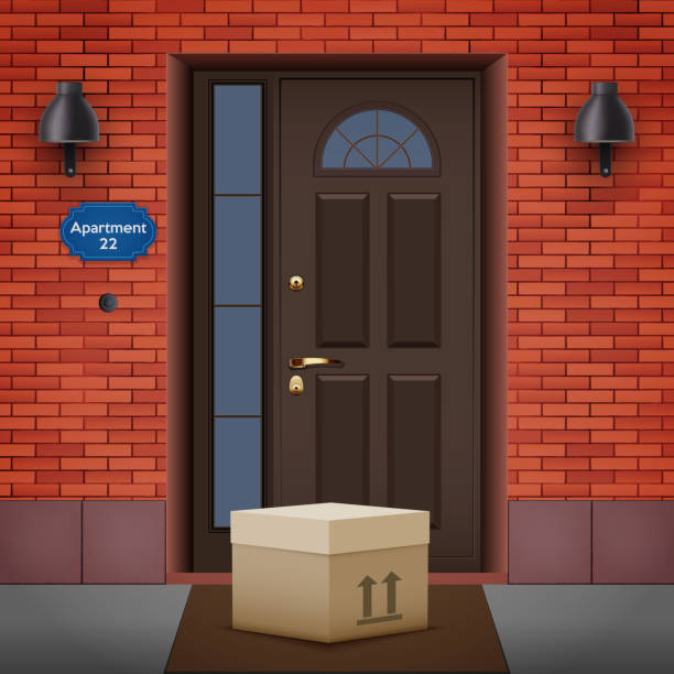 Contactless delivery left at the door Contactless delivery left at the door during the quarantine. House entrance with delivered box. Control Epidemic Prevention measures of coronavirus. Vector Illustration front stoop stock illustrations
