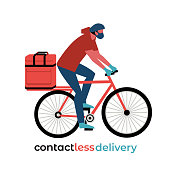 No-contact food delivery rider vector icon. Contactless delivery service online takeout orders cartoon illustration. Bicyclist driver courier in medical mask carries food meal medicine in bag on bike