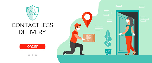 Contactless delivery service templete. Delivery person bring order to door. Vector banner for your business.
