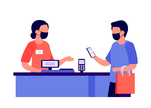 Contactless mobile payment for purchases via nfc. People shopping. Social distancing and protective masks in shop. Checkout, supermarket store counter cashier and shopper. Vector illustration