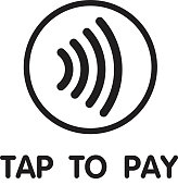 istock Contactless Nfc Wireless Pay Sign Logo. Credit Card Nfc Payment Vector Concept 1192965571
