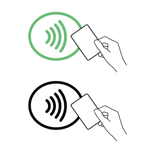 ilustrações de stock, clip art, desenhos animados e ícones de contactless nfc wireless pay sign logo. credit card nfc payment vector concept - paying with card
