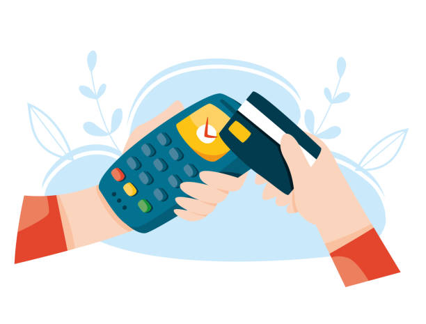 ilustrações de stock, clip art, desenhos animados e ícones de contactless payment by credit card. pos terminal. wireless mobile payment. nfc concept. online banking vector illustration. - paying with card contactless