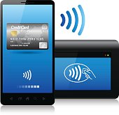 Smartphone and reader connected together with the new contactless technology, (bluetooth, NFC near field communication,...)