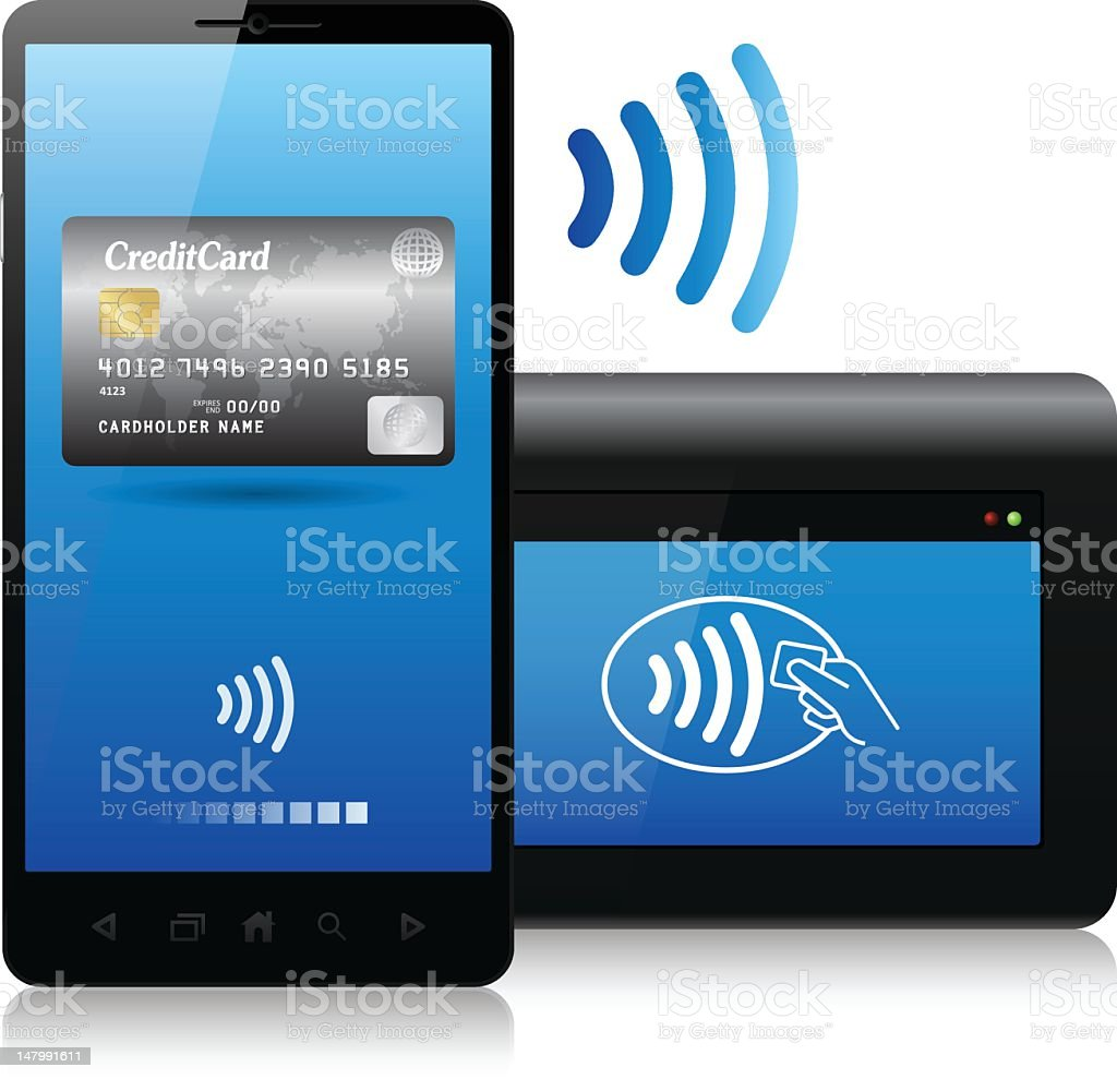 Contactless payment concept, bluetooth, NFC (near field communication) vector art illustration
