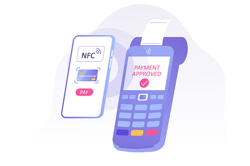 NFC contactless payment concept. Mobile phone contactless payment. POS terminal approves the payment. Online transaction. Internet banking. Wireless technology. Vector isolated illustration