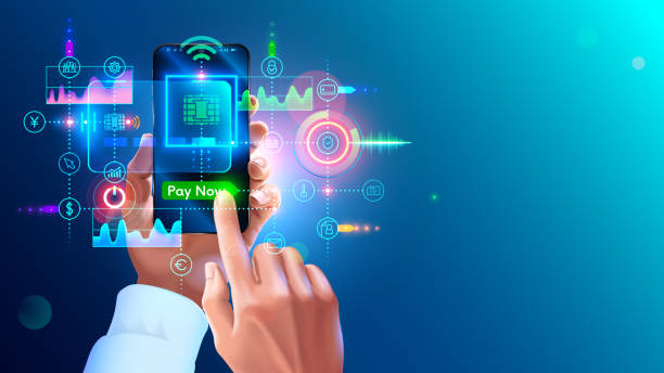 Contactless payment concept. NFC paying on phone. virtual banking card in app of smartphone in hand of man. Payments from mobile phone for services. Wireless money transaction technology. vector art illustration