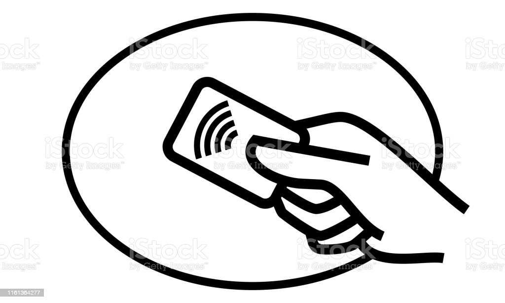 Contactless Payment Credit Card And Hand Tap Vector Logo Nfc Contactless  Pay Wave And Pay Pass Pos Terminal Line Icon Stock Illustration - Download