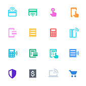 Vector illustration of a set of contactless payment icons