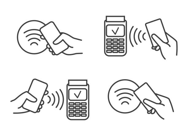 Contactless payment icons Contactless payment icons. Nfc payments symbols, card or phone in hand for mobile contact less pay, banking machine terminal signs station stock illustrations