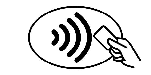 contactless payment vector icon. credit card and hand, wireless nfc pay wave and contactless pay pass logo - płacić stock illustrations