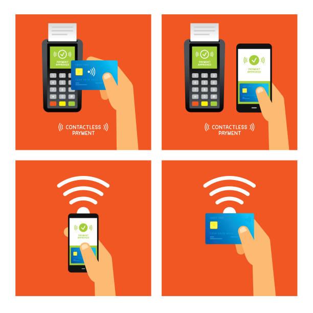 stockillustraties, clipart, cartoons en iconen met contactloze betalingen - mobiele betaling