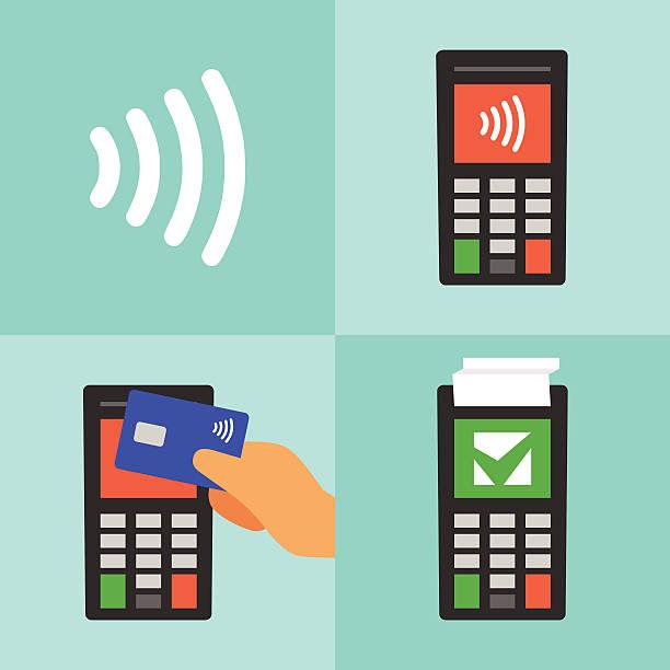 ilustrações de stock, clip art, desenhos animados e ícones de cartão de pagamento sem contacto com o manual - paying with card