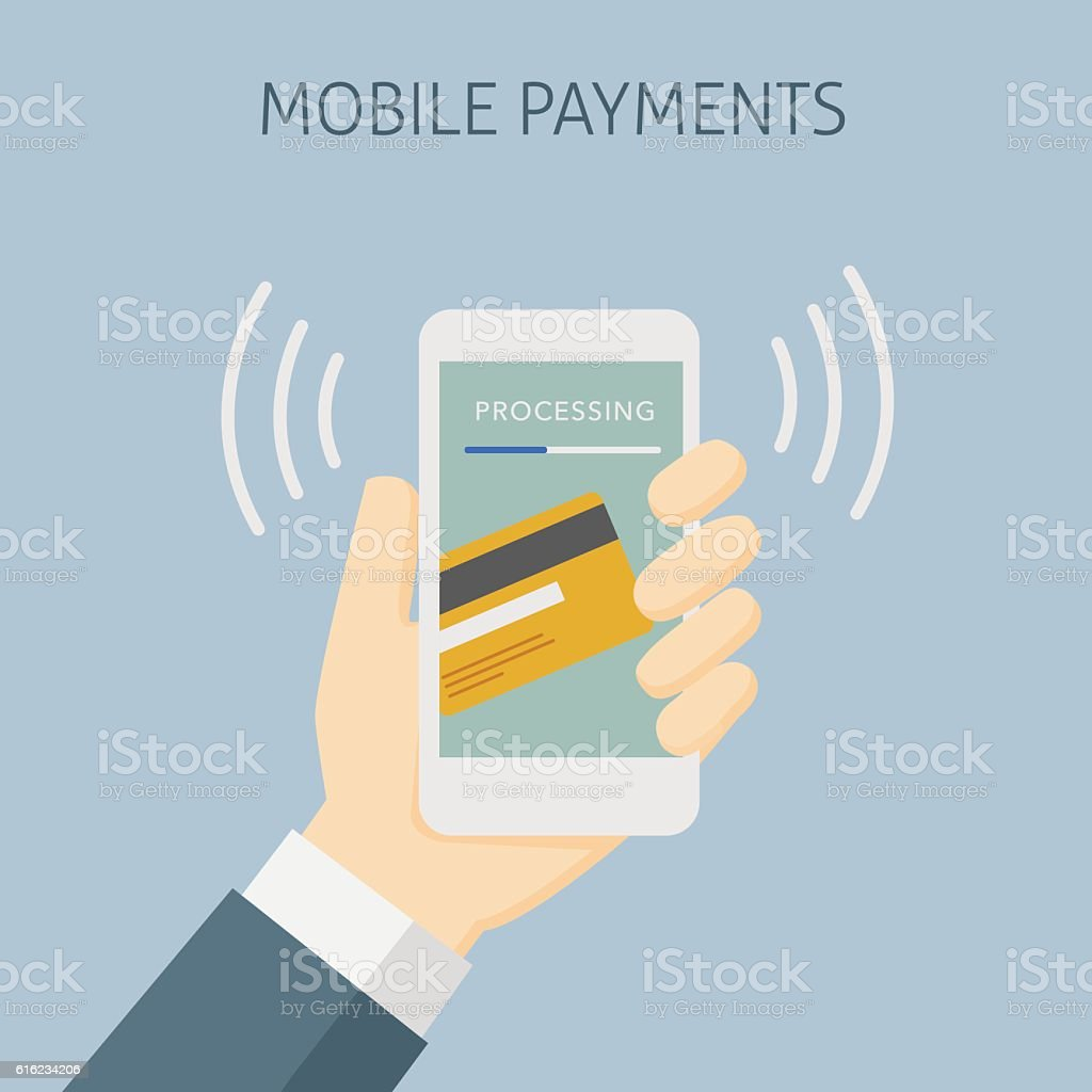 Contactless Payment with Mobile Phone, Mobile Payment Processing vector art illustration