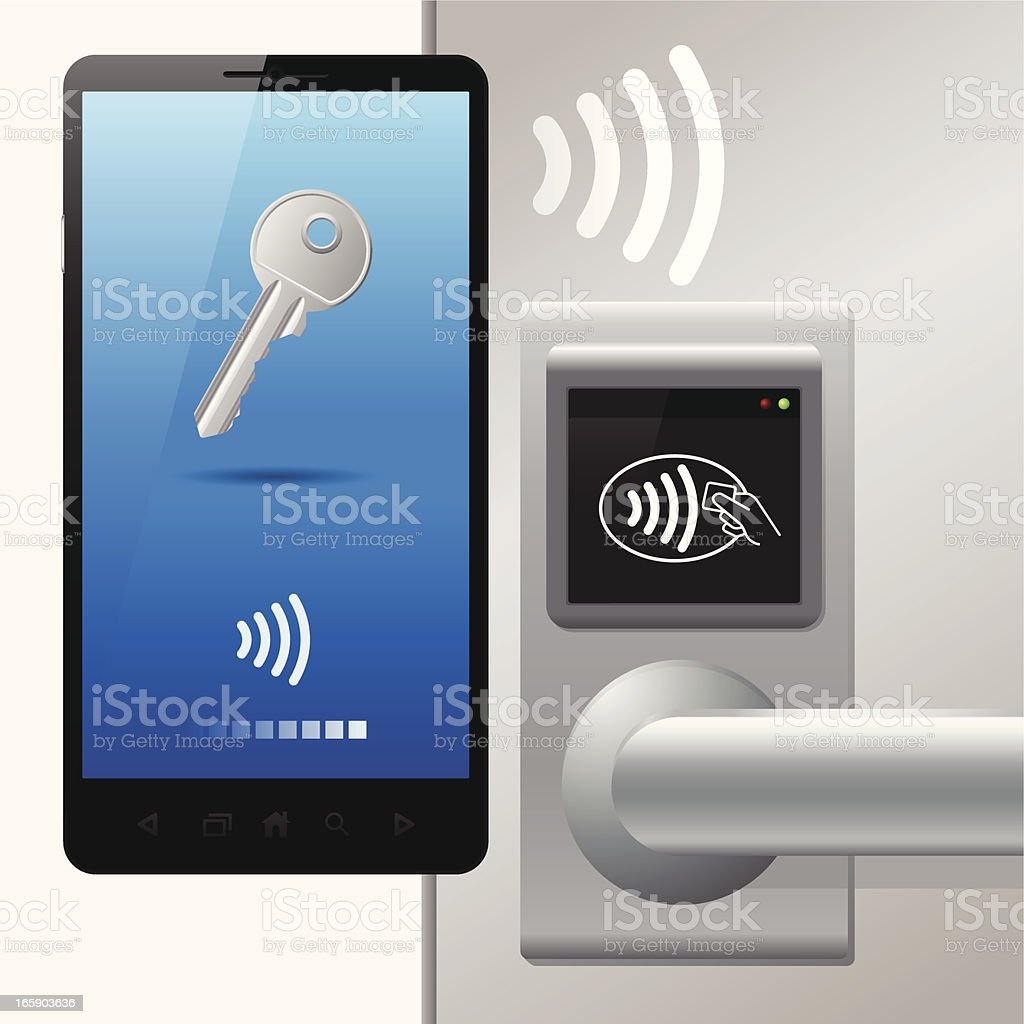 Contactless technology with door, bluetooth, NFC (near field communication) vector art illustration