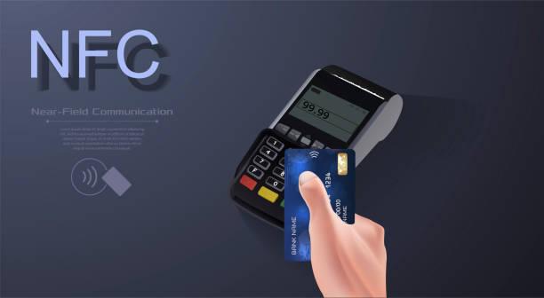 illustrations, cliparts, dessins animés et icônes de logo de rémunération sans fil sans contact de signe. la technologie nfc contact moins carte de crédit. - terminal aéroportuaire